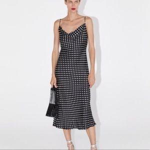 Zara Polka Dot Cowl Neck Dress